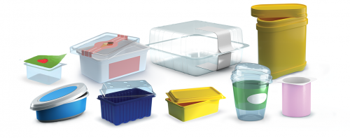 Plastic pots and tubs for foodstuffs (cheese spread, margarines, butter, yoghurt,...)