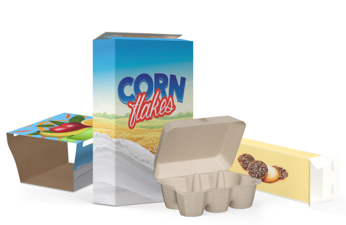 Cardboard boxes containing foodstuffs (cornflakes, biscuits, rice, eggs, etc.)