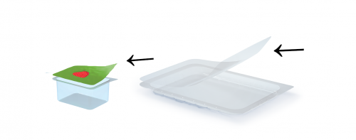 Plastic sealing film on pots and trays