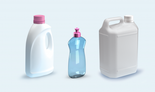 Plastic bottles for detergent, cleaning products (e.g., bleach, toilet descaler, etc.)