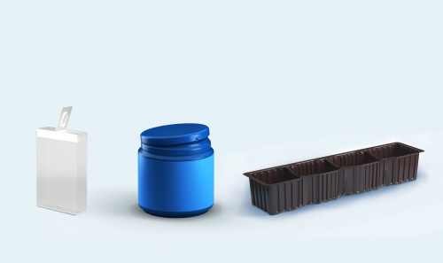 Plastic containers and trays for biscuits, vegetables (mushrooms, cherry tomatoes, etc.) and fruit (strawberries, etc.)