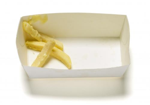 Cardboard packaging for fries or hamburgers