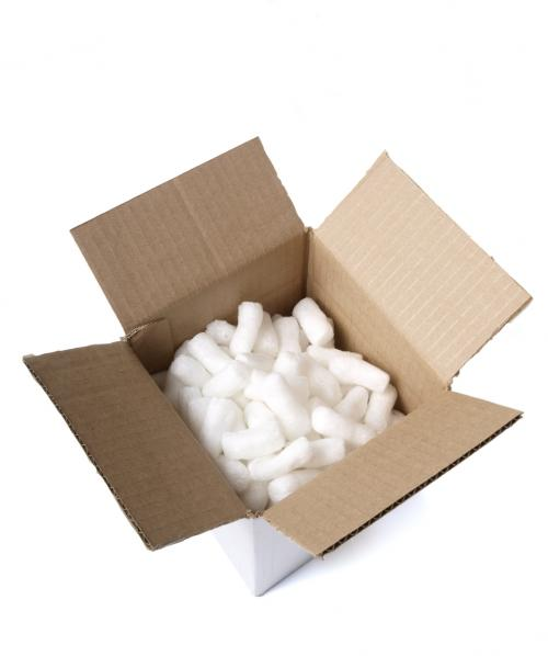 styrofoam chips used to fill up boxes as protection