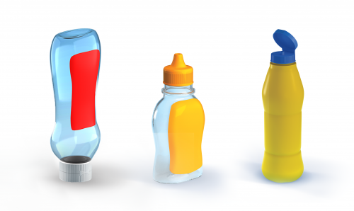 Plastic bottles for ketchup, mayonnaise, liquid margarine and butter, sauce, etc.