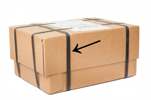 Plastic straps around parcels or boxes